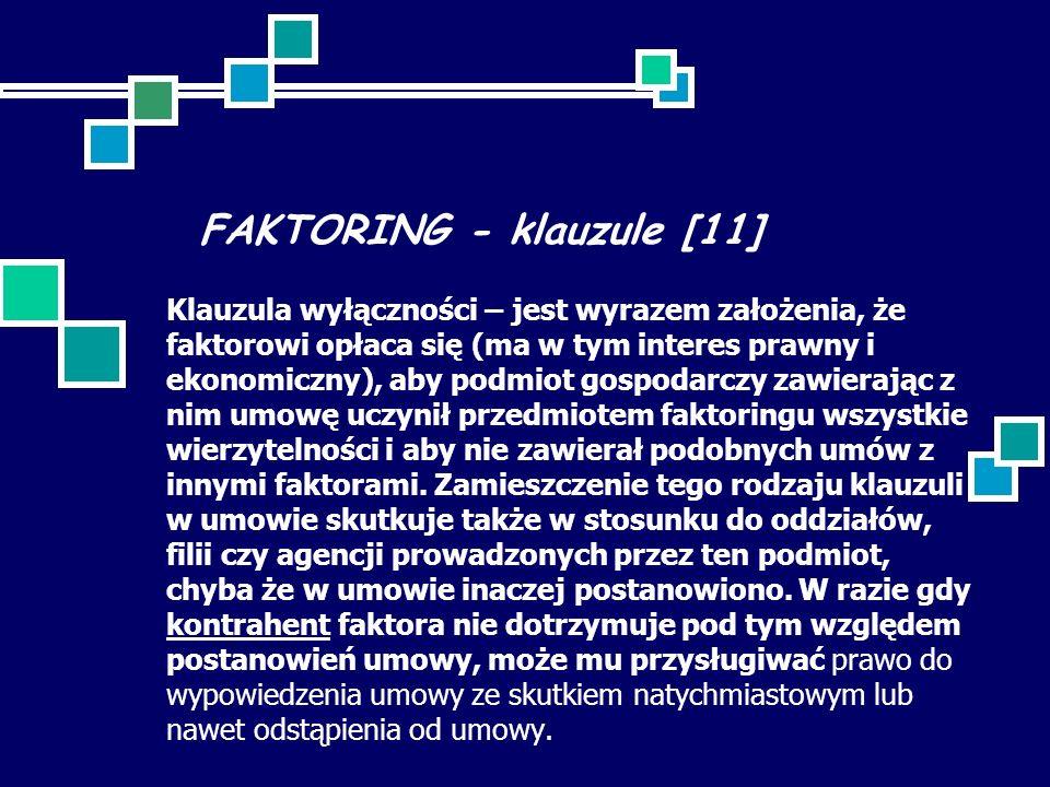 FAKTORING - klauzule [11]